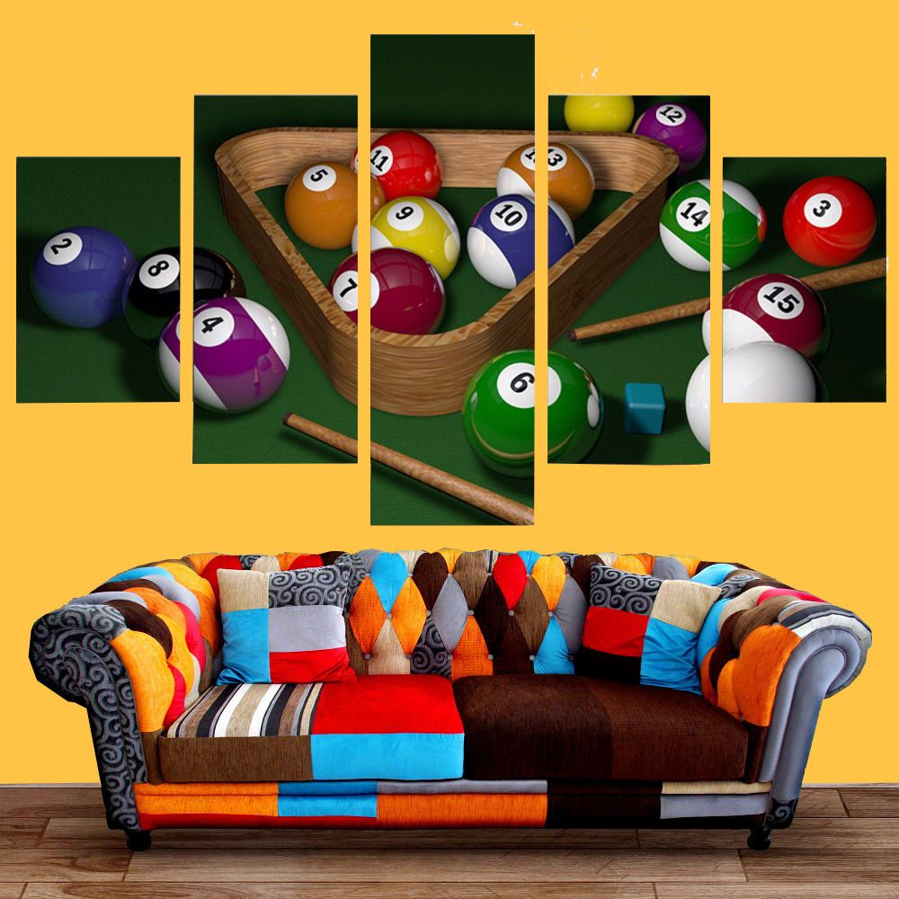 5Panel Billiards Landscape Sport Poster Canvas Painting