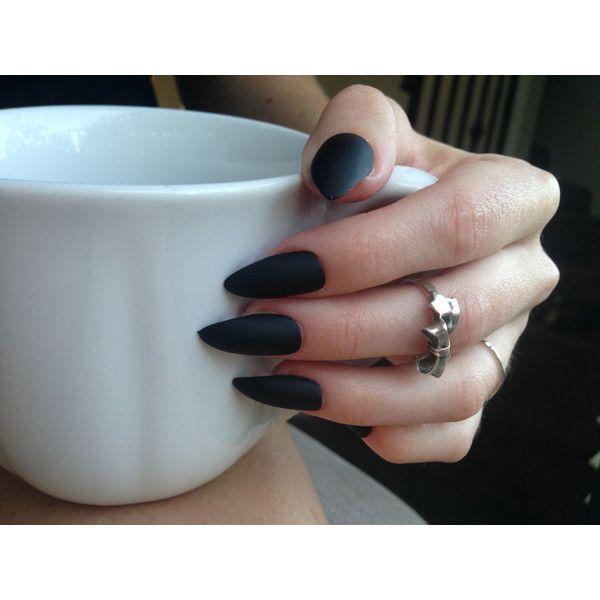 24 Matte Black Stiletto nails, matt black nails, Matte black press ...