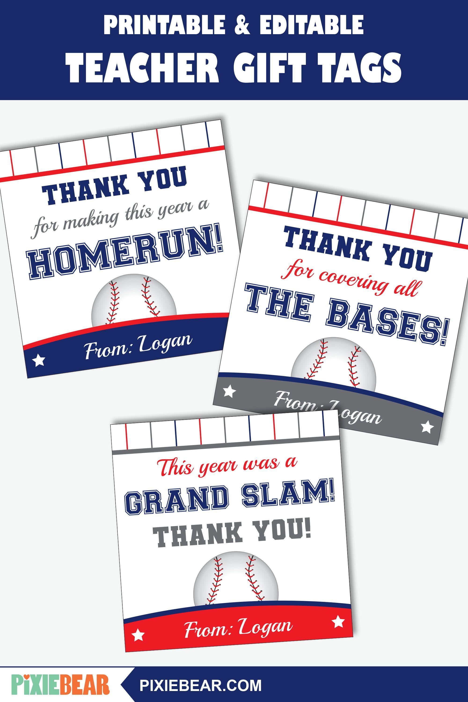 Free Printable Baseball Gift Tags From Printabletreats Com Baseball Gifts Baseball Team Gift Baseball Snacks
