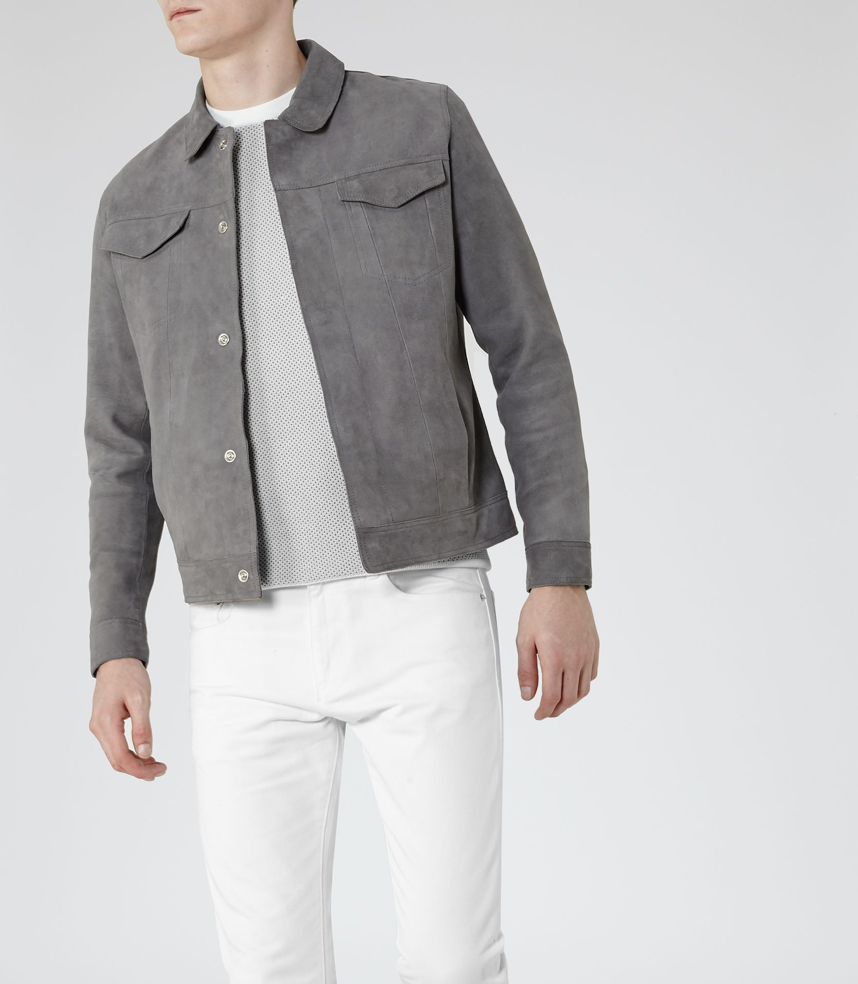 592819cfb Mens Grey Suede Jacket - Reiss Bastian | Smart Casual in 2019 | Grey ...