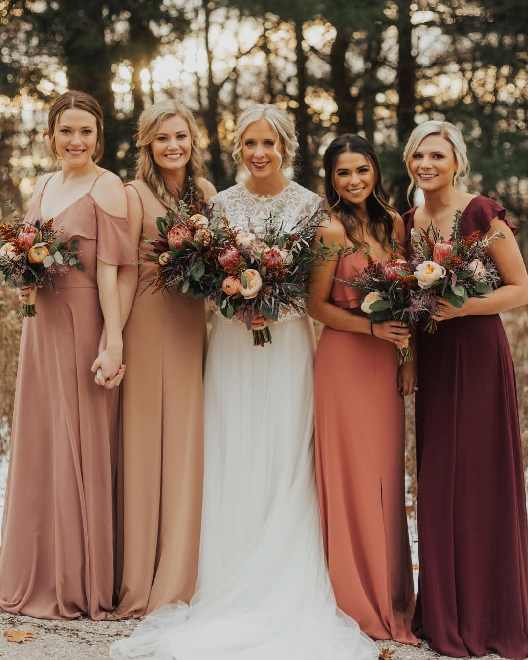 Love This Maybe More Patterns Fall Bridesmaids Fall Wedding Bridesmaids Rose Bridesmaid Dresses