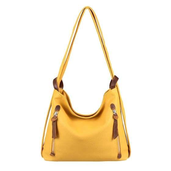 Photo of OBC Damen Tasche Rucksack 2 in 1 Umhängetasche Schultertasche PB705.Yellow