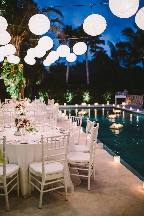 Poolside Dinner Party Backyard Wedding Pool Pool Wedding