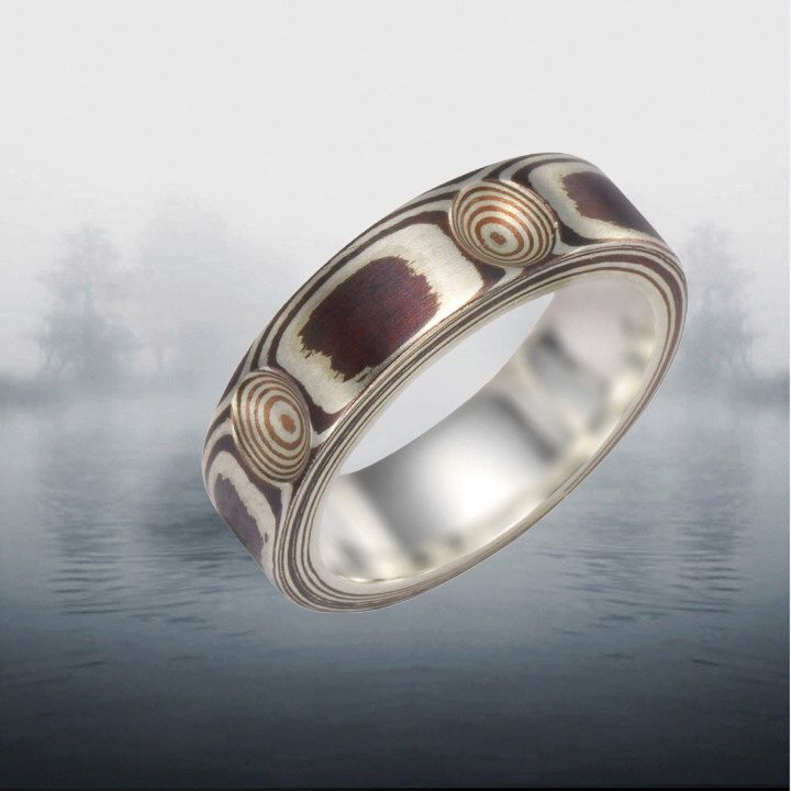 Mokume Gane Ring Silver And Copper 5 6 Mm Wide Band By JulietLove