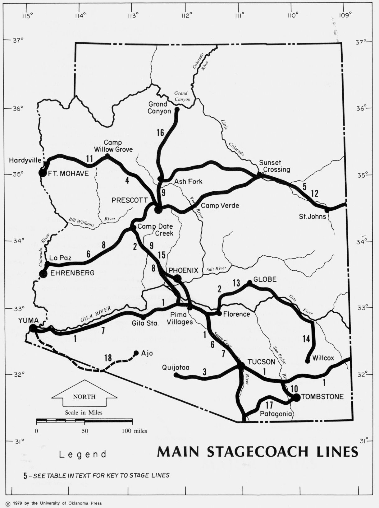 Map Of Arizona Historical Sites.Arizona Stagecoach Lines Date Unknown Ancient Maps In The State