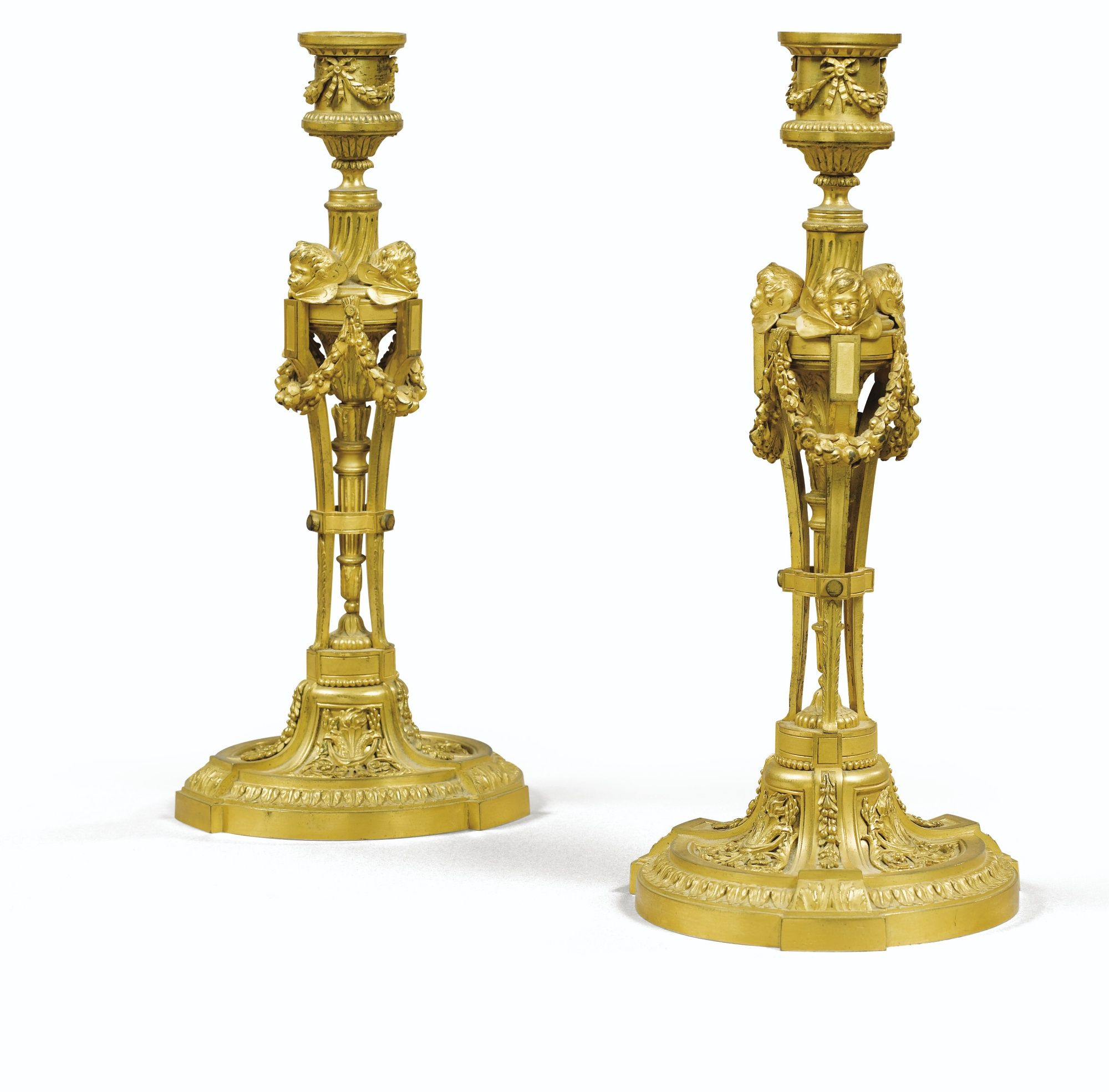 date unspecified A PAIR OF GILTBRONZE CANDLESTICKS, LOUIS XVI ...