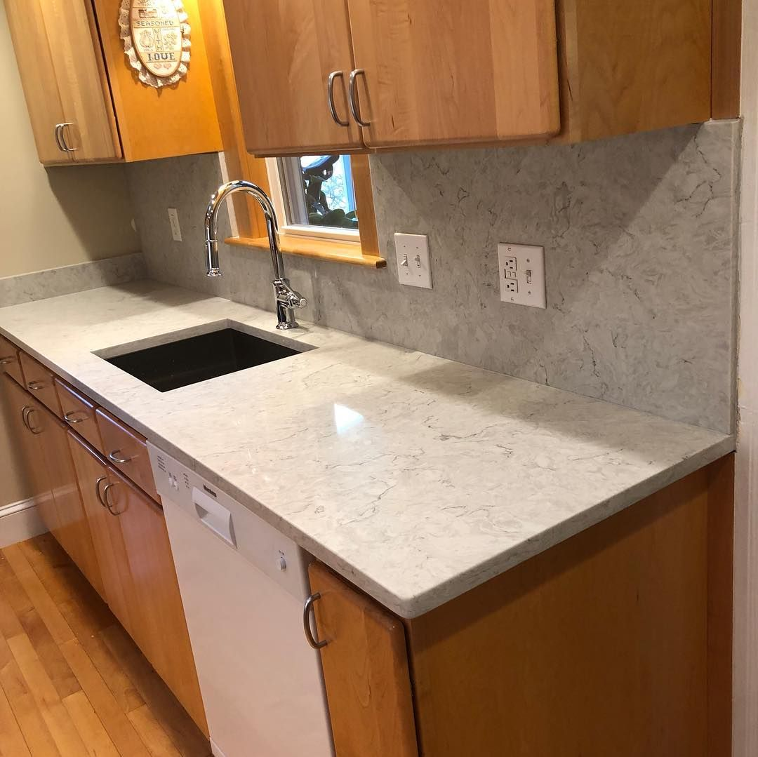 Carrara Mist Quartz For A Kitchen Countertop With Full Matching Backsplash In Reading Burlingtonma W Kitchen
