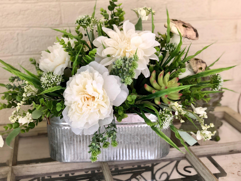 The Kayla White Peony Farmhouse Centerpiece For Dining Room Etsy Farmhouse Centerpiece Table Flower Arrangements Dining Room Table Centerpieces