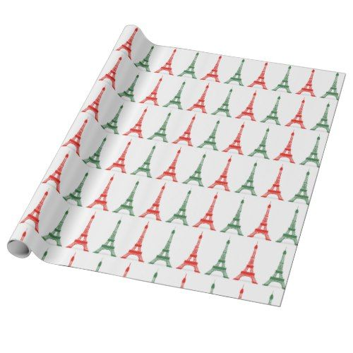 Red and Green Christmas French Theme Eiffel Towers Wrapping Paper