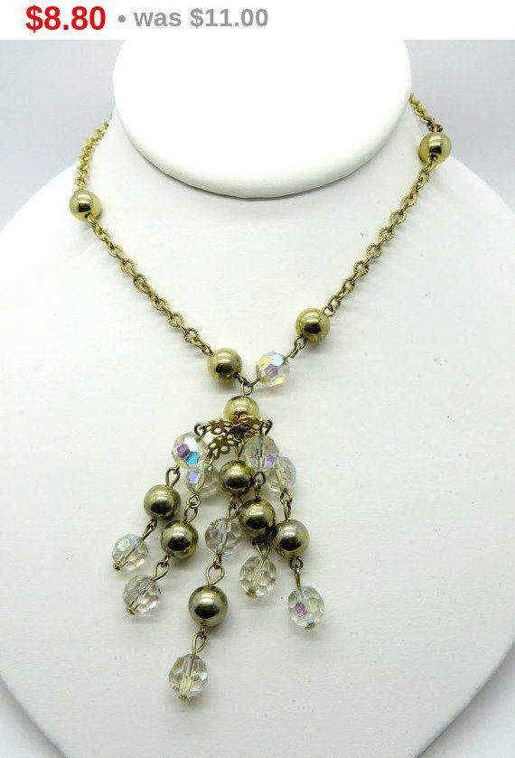 On sale vintage chandelier necklace crystal gold tone metal vintage chandelier necklace crystal gold tone metal necklace aloadofball Choice Image