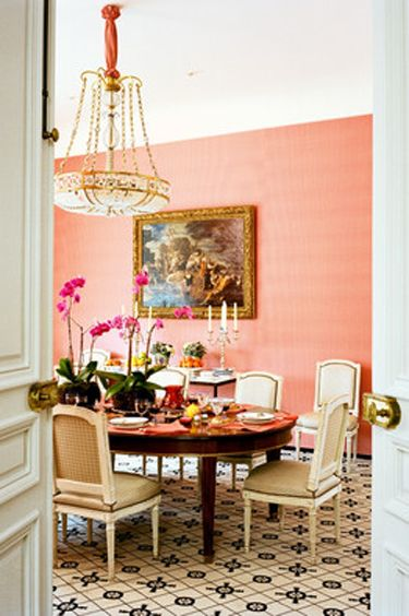 I Really Like The Peachy/pink Salmon Wall For A Dining