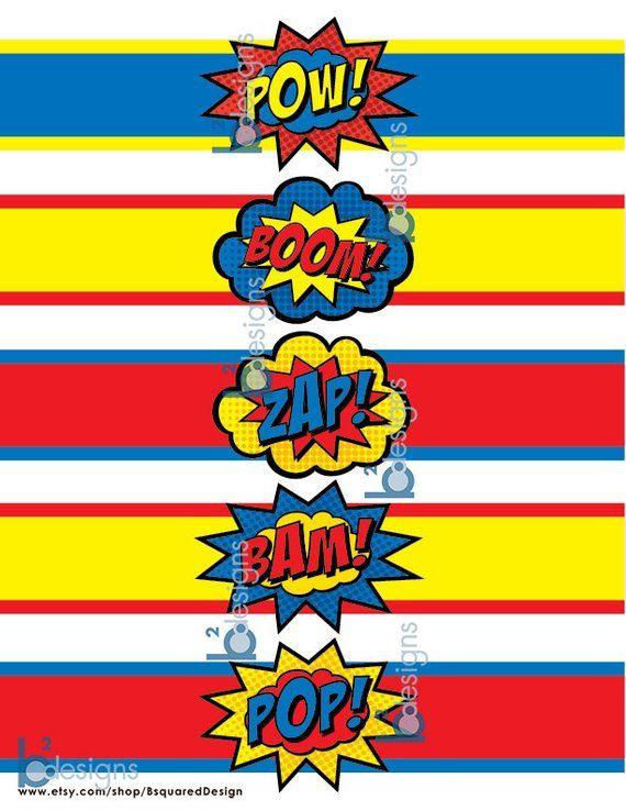 Superhero Waterbottle Labels Pow Boom Zap Pop Bam