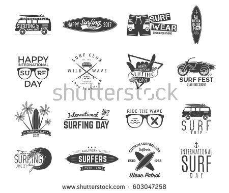 Vintage Surfing Graphics and retro logo set for web design