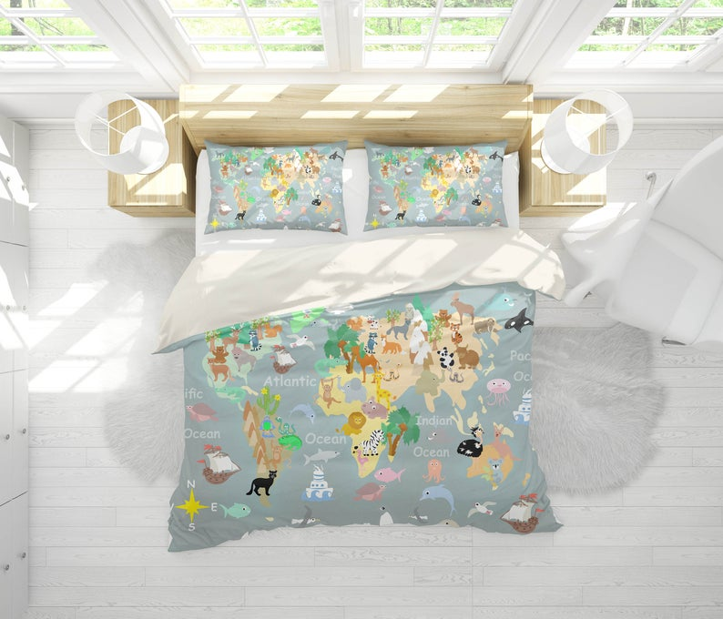 3d Cartoon Grey World Map Bedding Set Quilt Cover Quilt Etsy Quilt Cover Sets Map Bedding Quilt Cover