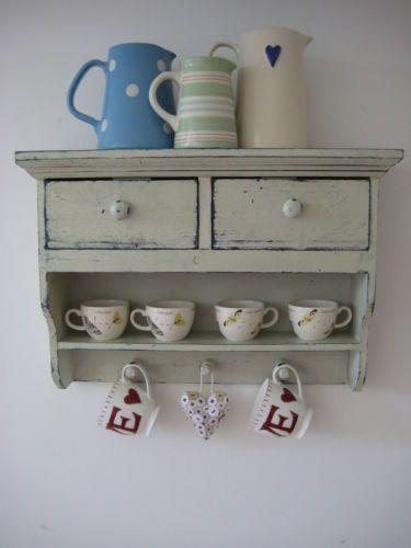 Vintage style cream wooden wall shelf display storage unit - Wooden kitchen shelf unit ...