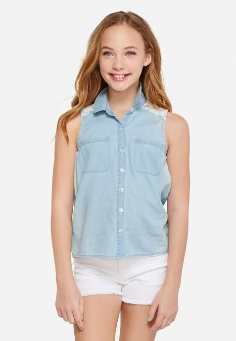 Keyhole Lace Button Up Tank Tween Fashion Trending Tween Outfits Tween Fashion