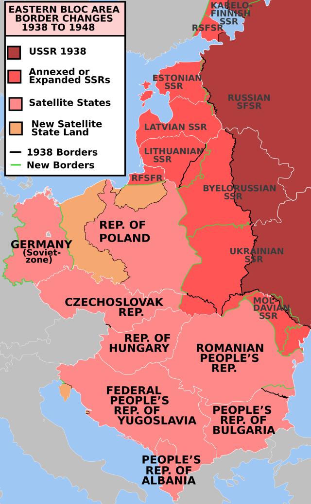 Map Of Border Changes Between 1938 And 1948 In The Eastern Bloc In