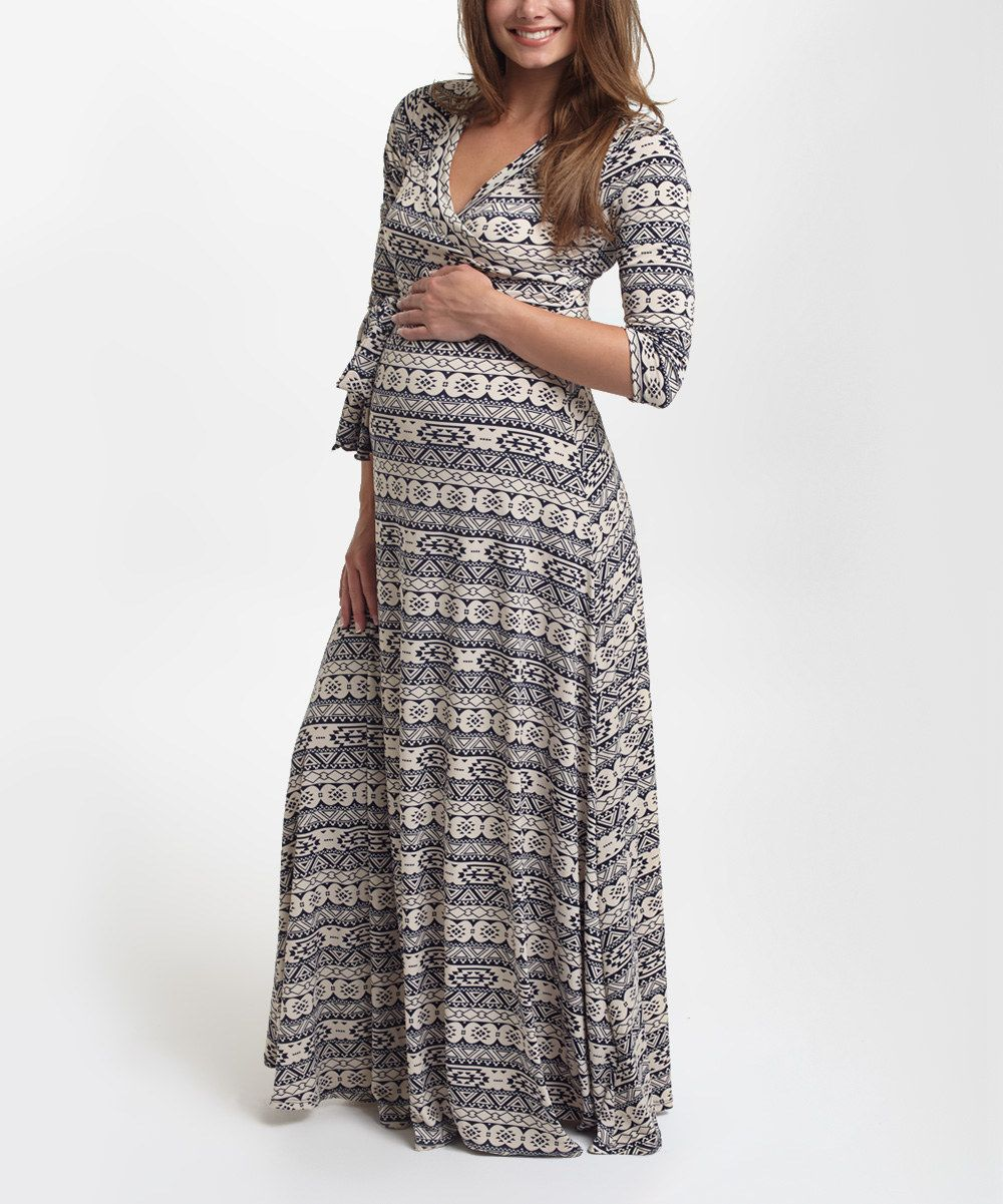 Look at this PinkBlush Navy Geo Surplice Maternity/Nursing Maxi Dress on #zulily today!