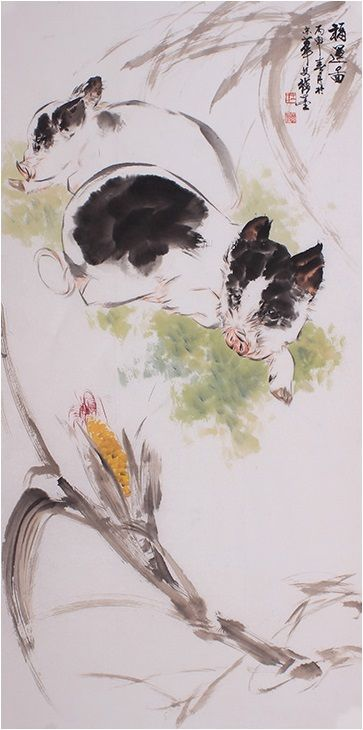 Art Chinese Scroll Painting Modern Famous Artists Pig Painting