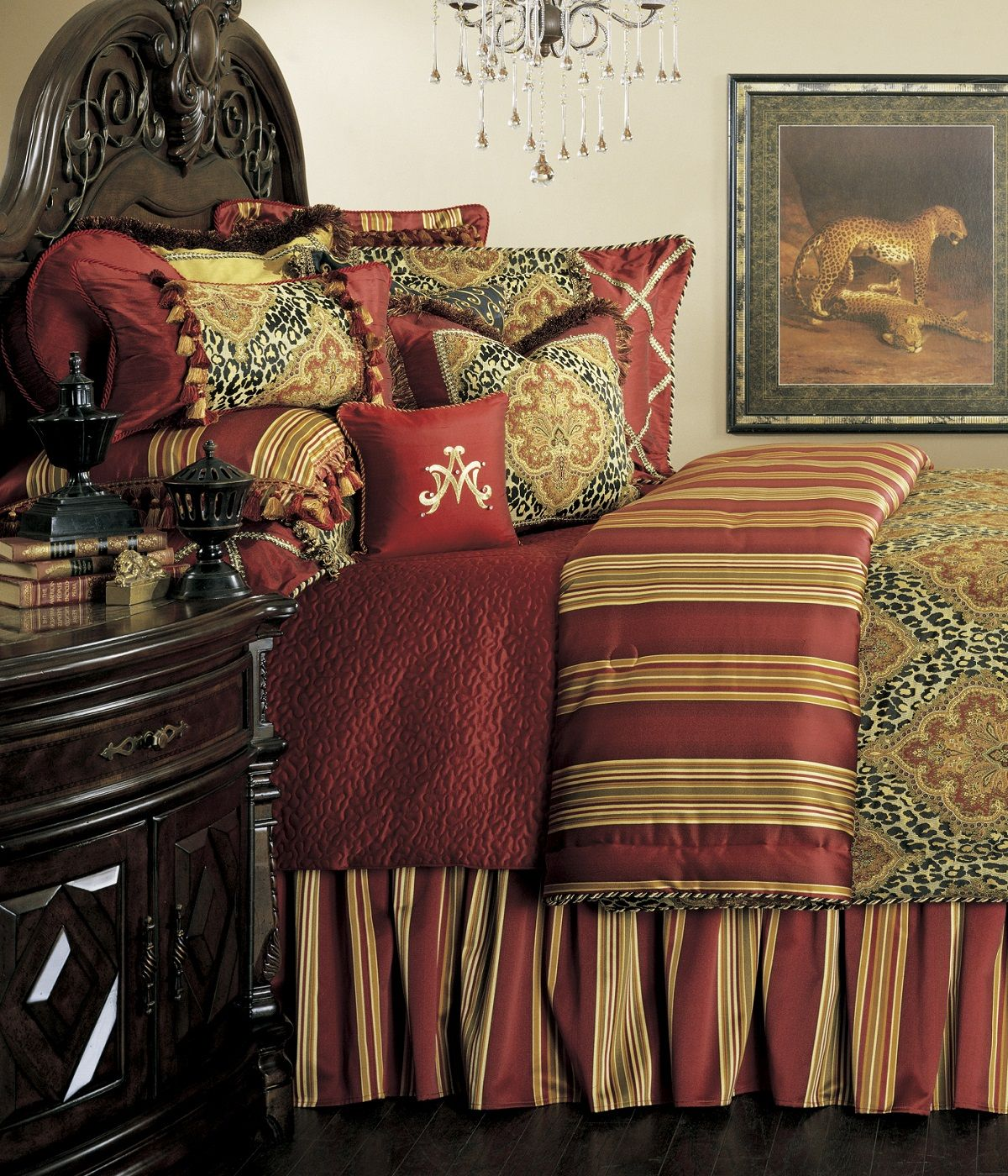 Leopard print and red bedding - Nobel Philippe Bed Set One S Nest Custom Burgundy Red Gold Damask Leopard Print Luxury Tuscan Villa