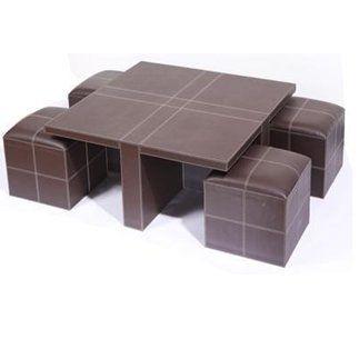 table basse simili cuir et 4 poufs