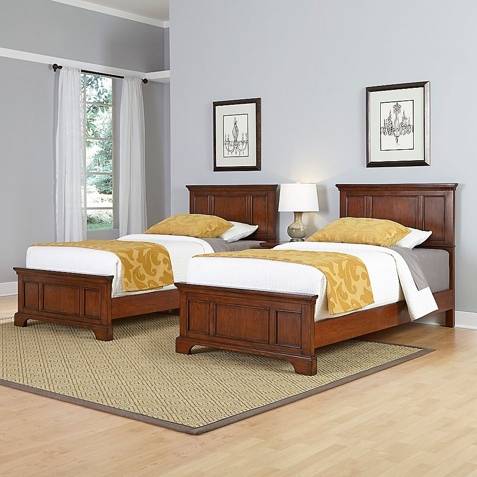 Home Styles Chesapeake 3 Piece Twin Beds And Nightstand Set In