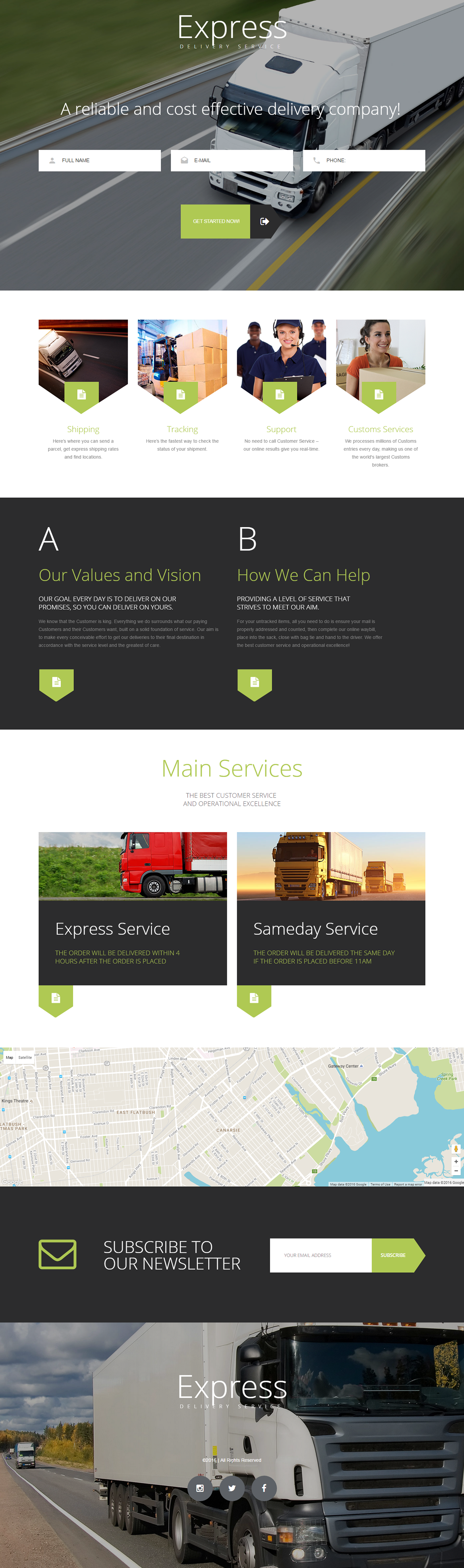 Express Delivery Services Landing Page Template on Behance | Landing ...