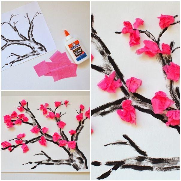 Wonderful Diy Cherry Blossom Tissue Papaer Flower Cherry Blossom Art Paper Flowers Tissue Paper Crafts
