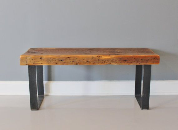 Bench - Industrial Steel and Wood, Reclaimed Wood, Bench, DIning Bench,  Entry Bench, Wood Bench- reclaimed wood furniture store