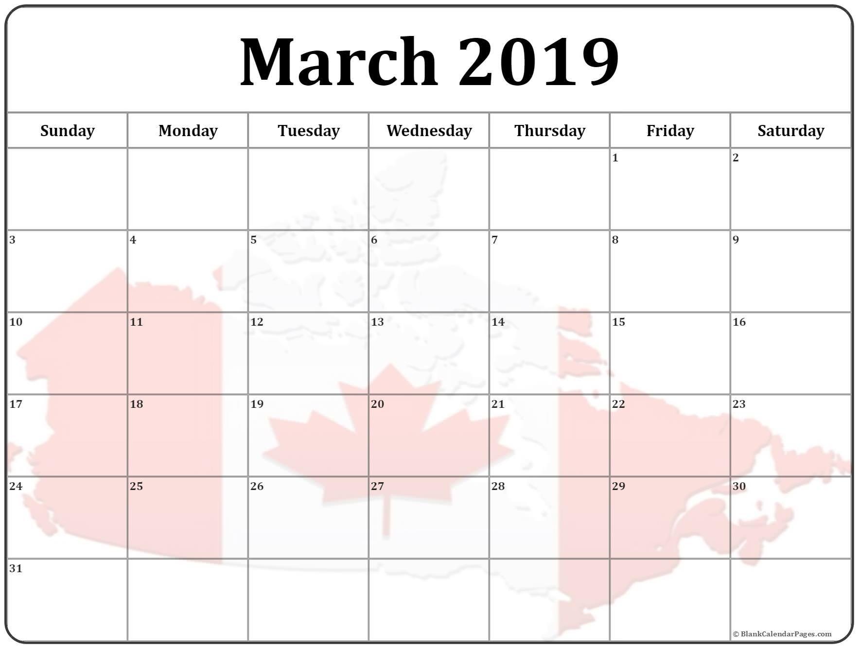 March 2019 Canada Flag Gif Calendar Printout With Images 2019