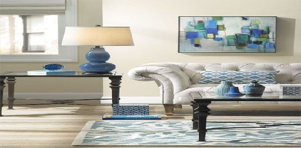 Interior Design Feng Shui with Water Blue Color for Living Room