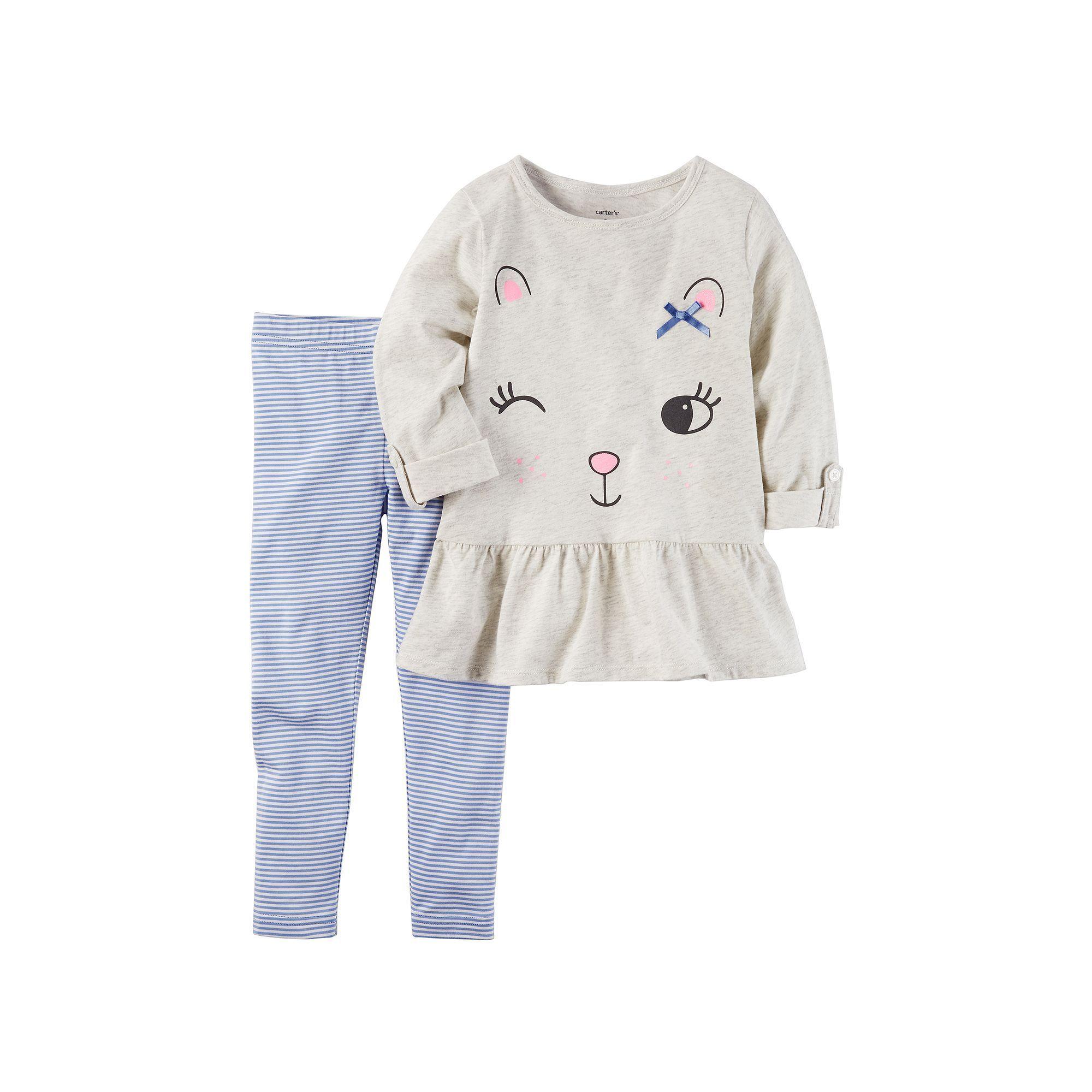 b6c2372b19 Toddler Girl Carter's Winking Cat Peplum Tunic & Striped Leggings ...