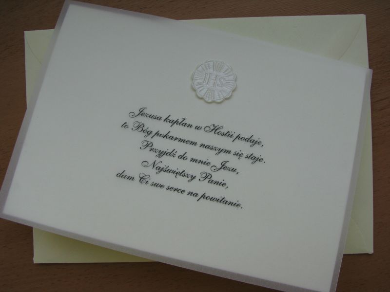 Subtelne Zaproszenia Na Komunię świętą Kartki Okolicznościowe