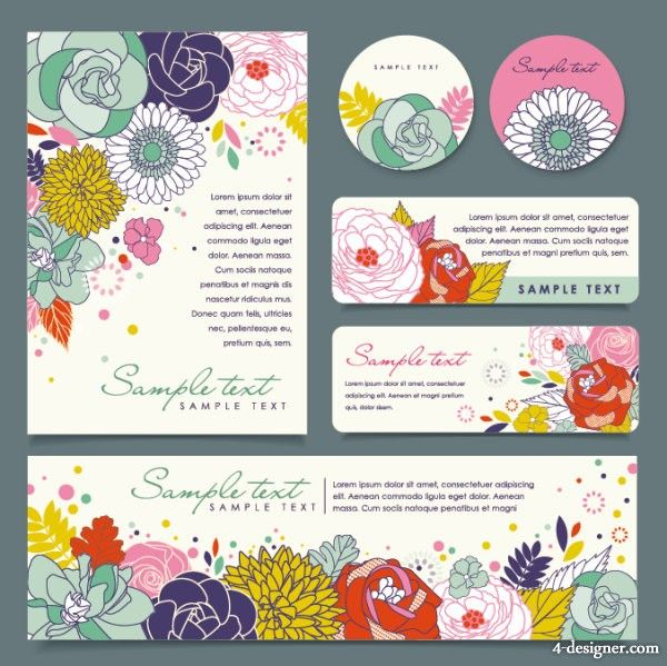 4-Designer | Exquisite hand painted flowers cover 01 vector material