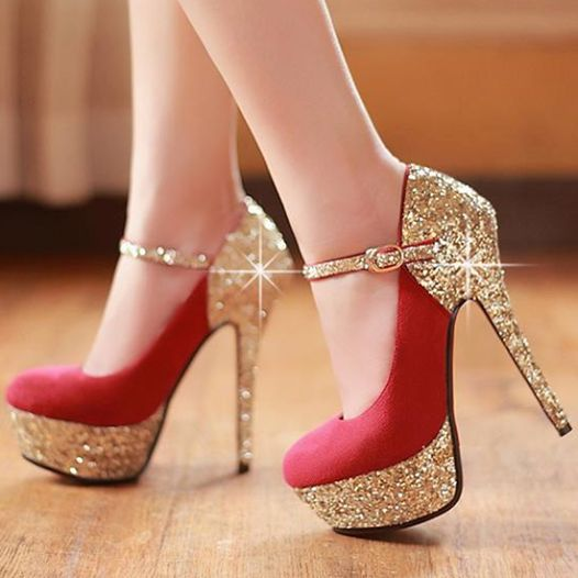 red and gold heels ~ can I have these for my wedding! Seriously ...