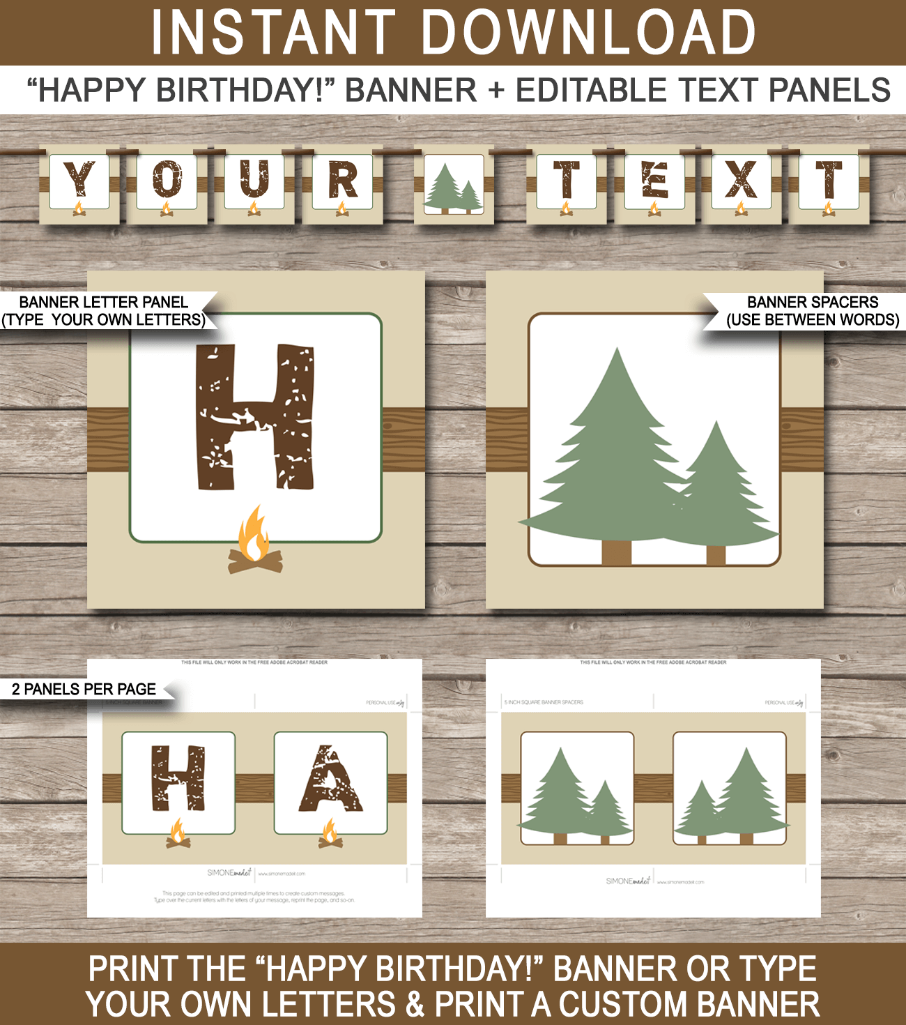 Camping Party Banner template | Tammy | Pinterest | Banner template ...