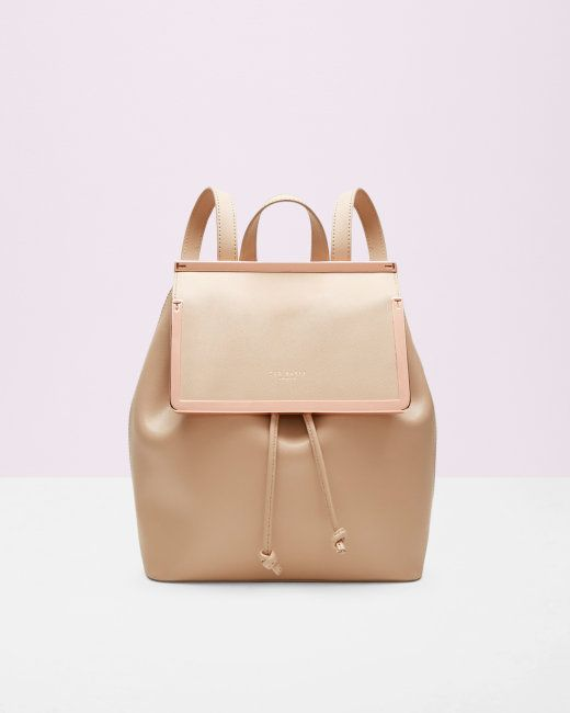 Metal bar leather backpack - Taupe | Bags | Ted Baker UK