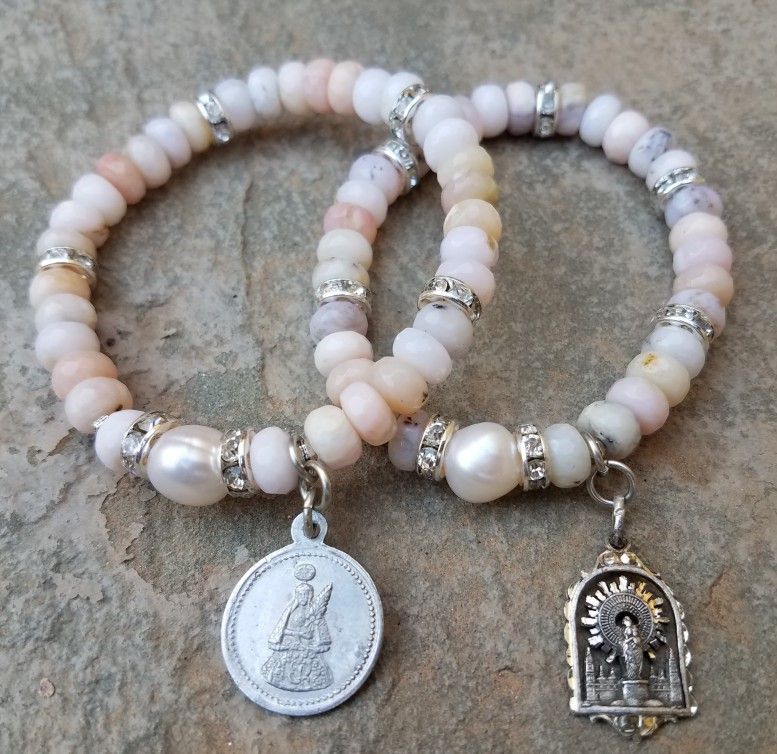 Vintage catholic bracelets made in pink opal, pearl and