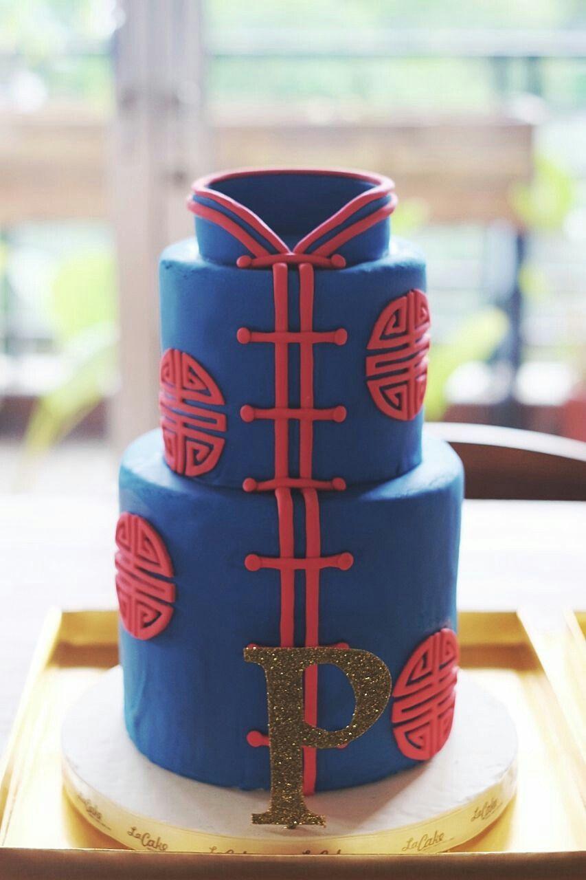 Chinese theme cake #chinesecake #engagementcake #bluecake ...