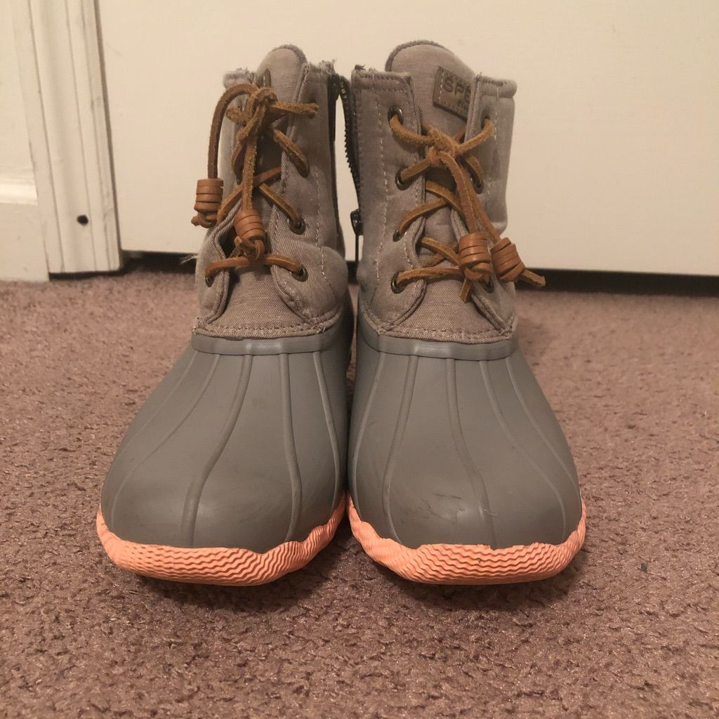 Grey \u0026 pink Sperry boots in 2020