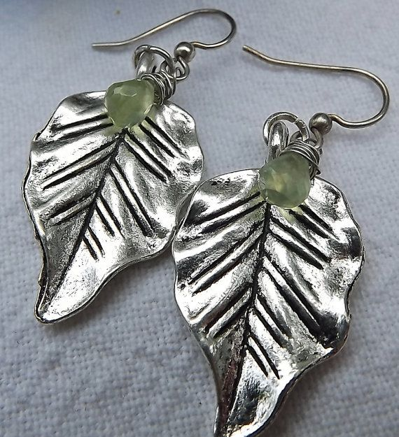 pewter leaves and peridot briolettes by pebblesnglass on Etsy, $12.00
