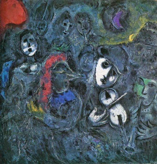 Marc Chagall - Clowns at Night