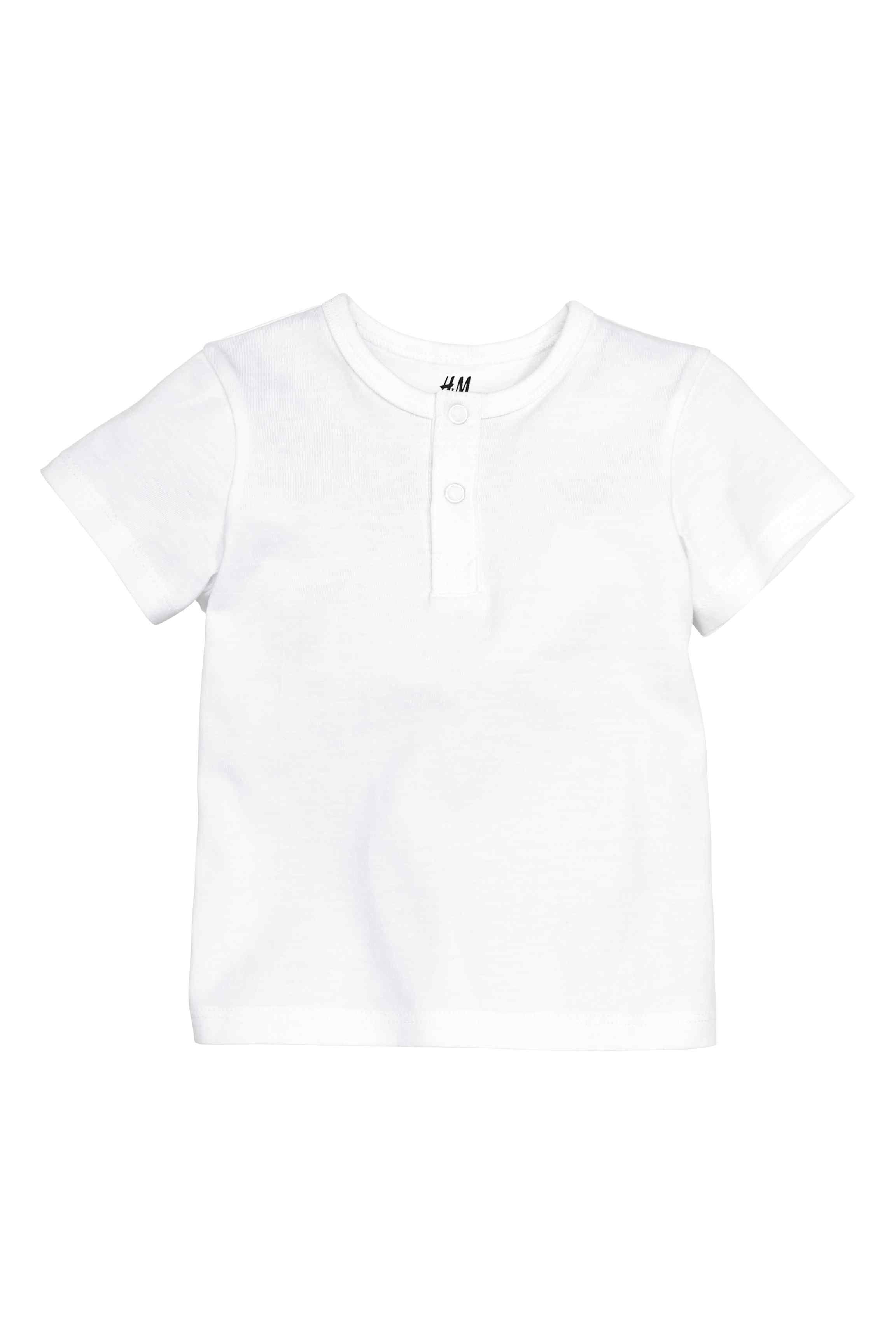 T Shirt Z Guzikami Bialy Dziecko H M Pl Henley Shirts White Jersey Shirt White Short Sleeve Shirt