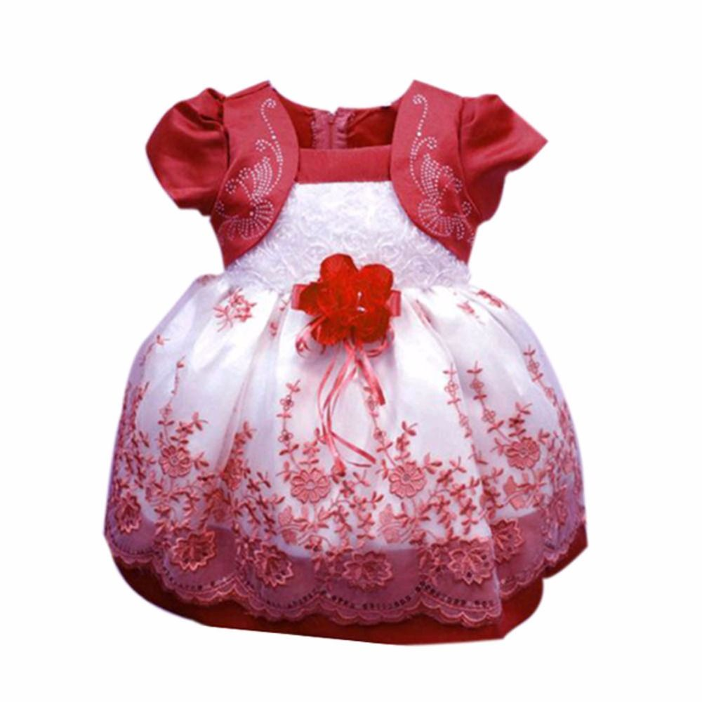 Kids girl baby dress rose baby girl princess clothing infant bow