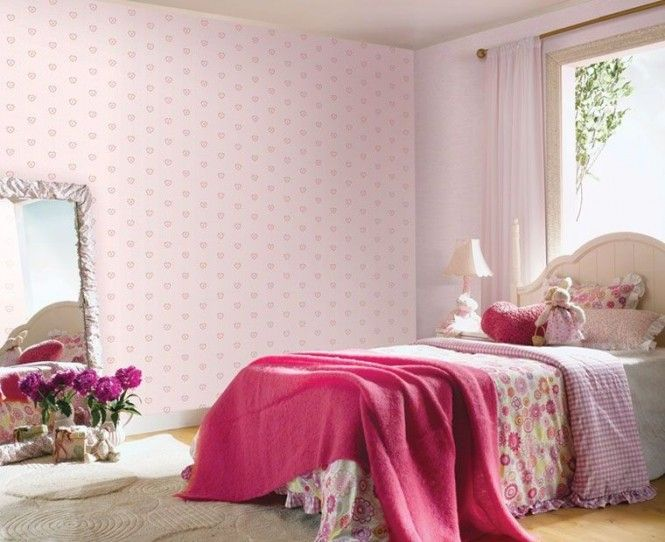 Baby Pink Wallpaper With Quilt And Bedding Together Table Lamp Plus Curtain
