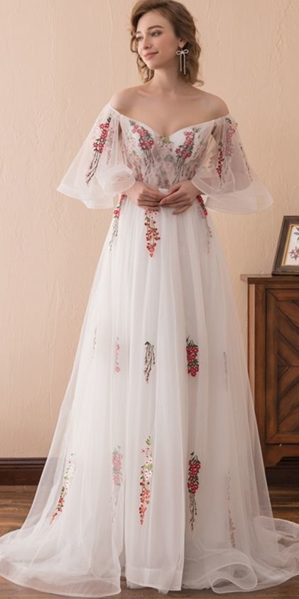 white and grape floral embroidery long stage dress prom dress for 2020