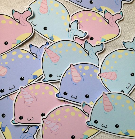 Cute kawaii Narwhal sticker set of twelve fairy kei lolita pastel ...