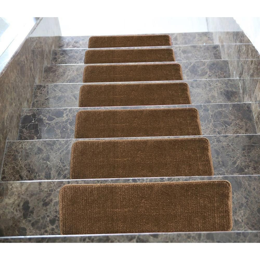 High Quality Ottomanson Softy Collection Brown 9 In. X 26 In. Rubber Back Stair Tread (
