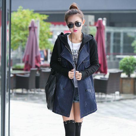 2015 New Women's Spring Autumn Long Denim Jacket Female Winter Slim Plus Size Knitted Sleeve Hoodies Denim Jeans Outerwear Coat