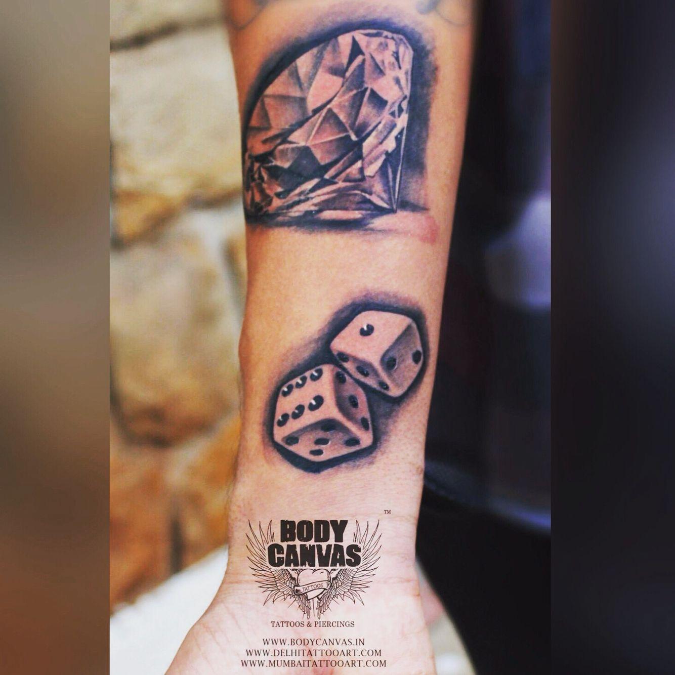 Small Money Bag Tattoo: #diamond Tattoos #dice Tattoos